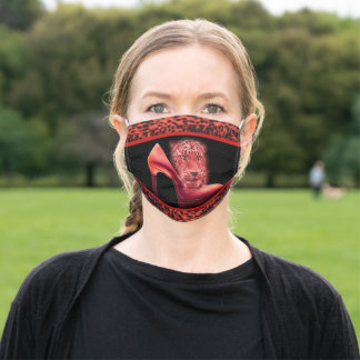 Red High Heel Leopard Face Design Adult Cloth Face Mask