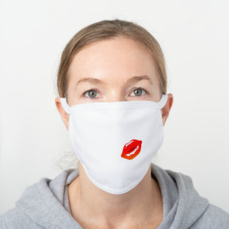 Red Kiss Kissing Lips Lipstick Lipgloss Cool White Cotton Face Mask