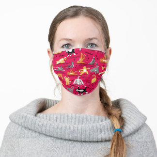 Red Kitty Cat Yoga Stances Adult Cloth Face Mask