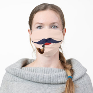 Red Lips - Big Black Mustache withe Smoking Pipe - Cloth Face Mask