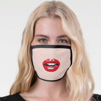 Red Lips kiss mouth cute fun girly pink Face Mask