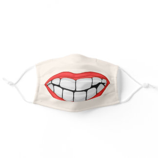 red lips smile on light skin tone adult cloth face mask