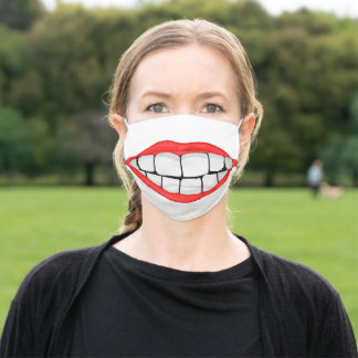 red lips smile with big teeth adult cloth face mask