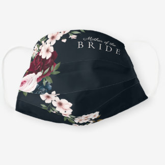Red & Navy Watercolor Floral Mother Of The Bride Cloth Face Mask