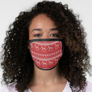 Red Nordic Style Rocking Horse Pattern Face Mask