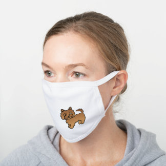Red Norwich Terrier Cute Cartoon Dog White Cotton Face Mask
