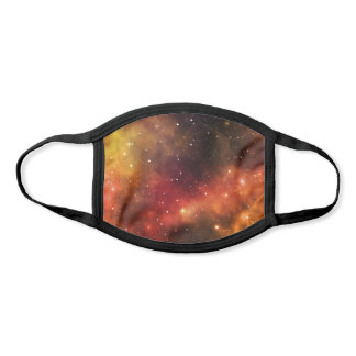 Red Orange Yellow Space Stars Black Cloth Galaxy Face Mask