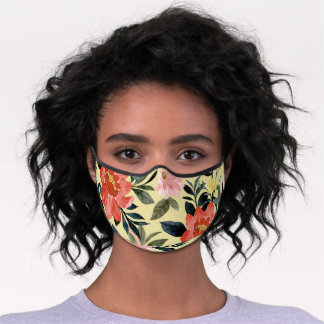 Red Pink Watercolor Floral Yellow Botanical Premium Face Mask