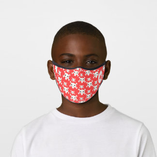 Red pirates skull pattern kids fun custom monogram premium face mask