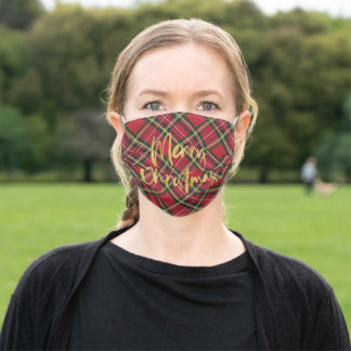Red Plaid Gold Foil Script Merry Christmas Adult Cloth Face Mask
