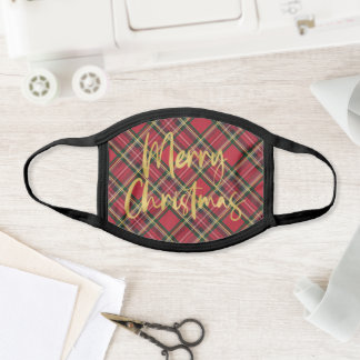 Red Plaid Gold Foil Script Merry Christmas Face Mask
