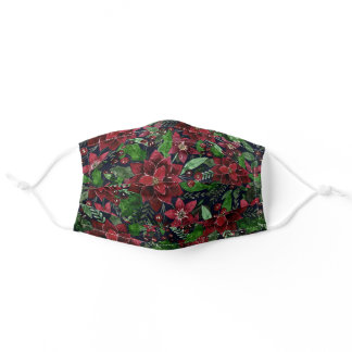 Red Poinsettia Floral Watercolor Christmas Adult Cloth Face Mask