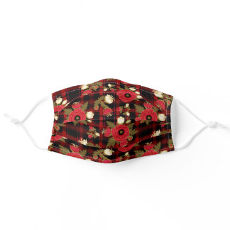Red Poppies and Cream Tulip on Tartan Plaid Adult Cloth Face Mask