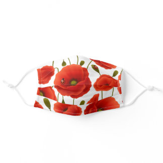 Red Poppies and Lady Bugs Adult Cloth Face Mask
