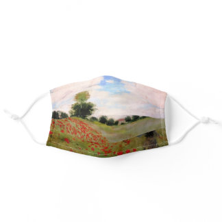 Red Poppies by Monet - Poppy Field Parasol Woman Adult Cloth Face Mask