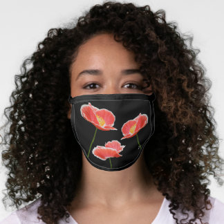Red Poppies on Black Floral Modern Face Mask