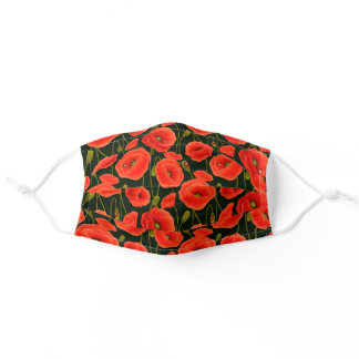 Red Poppy Beautiful Floral black Trim Adult Cloth Face Mask