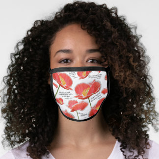 Red Poppy Floral With Quotes Face Mask
