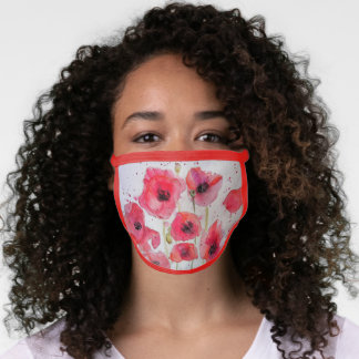 Red Poppy flower Watercolour floral art Face Mask