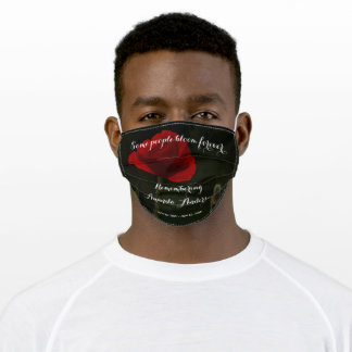 Red poppy in sunlight on black memorial adult cloth face mask