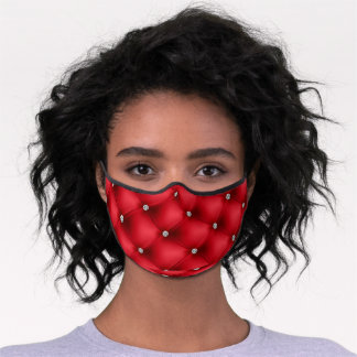 Red Quilted Rhinestone Studded Print Premium Face Mask