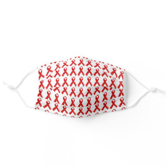 Red ribbon pattern HIV AIDS awareness Adult Cloth Face Mask