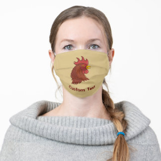 Red Rooster's Head Adult Cloth Face Mask