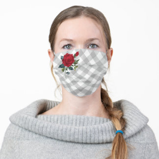 Red Rose on Gray Plaid Adult Cloth Face Mask