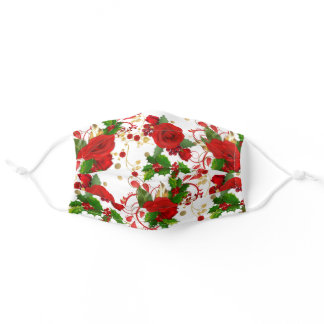 Red Roses and Holly Winter Pattern Adult Cloth Face Mask