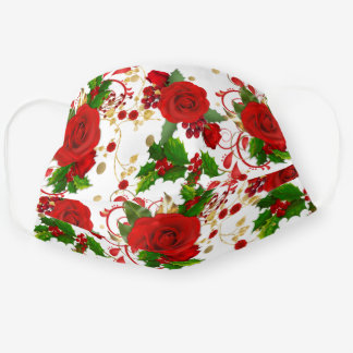 Red Roses and Holly Winter Pattern Cloth Face Mask