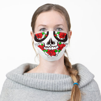 red roses day of the dead sugar skull adult cloth face mask