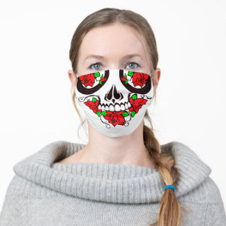 red roses day of the dead sugar skull cloth face mask
