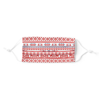 Red russian traditional ornament adult cloth face mask