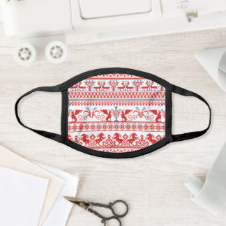 Red russian traditional ornament face mask