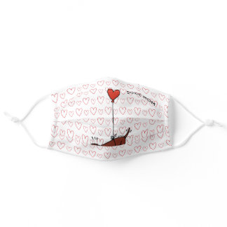 Red Smooth Haired Dachshund Heart Adult Cloth Face Mask
