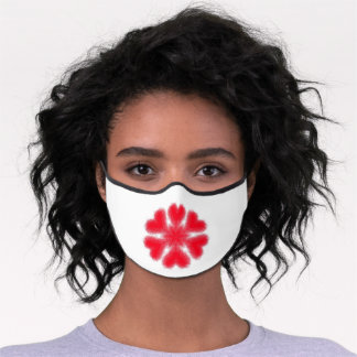 Red Snowflake with Hearts Elements Premium Face Mask