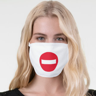 Red stop sign icon white face mask cover