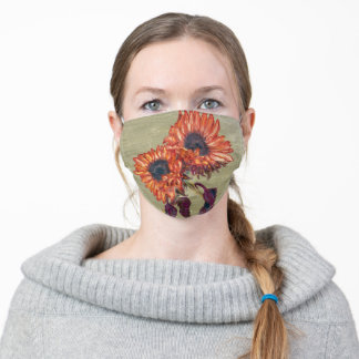 Red Sunflowers Face Mask