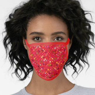 Red Trim Dotted Pattern Face Mask