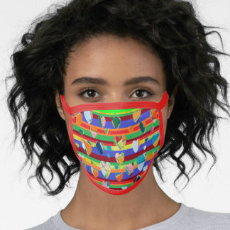 Red Trim Mosaic Heart Pattern Face Mask