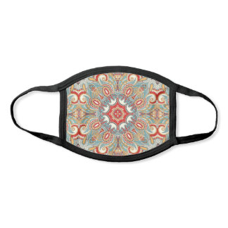 Red Turquoise Gray Teal Blue Kaleidoscope Pattern Face Mask
