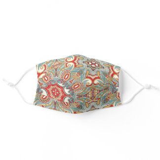 Red Turquoise Teal Blue Flowers Mandala Pattern Adult Cloth Face Mask