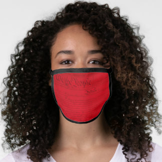 Red US Constitution Declaration Face Mask