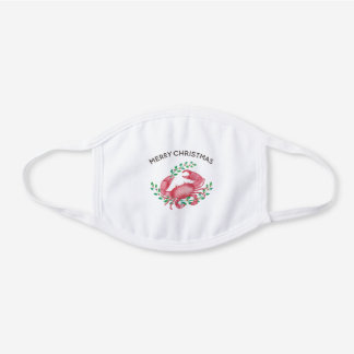 Red Watercolor Crab Nautical Merry Christmas White Cotton Face Mask