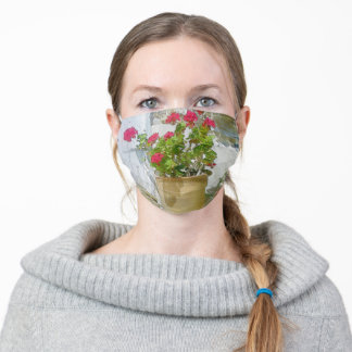 Red watercolor geranium adult cloth face mask