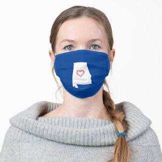 Red White and Blue Alabama Love Adult Cloth Face Mask
