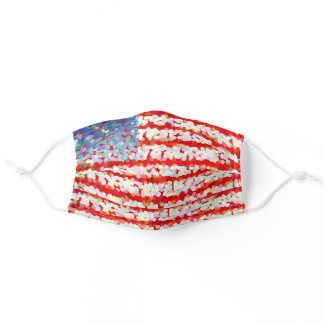 Red, white and blue - American flag Adult Cloth Face Mask