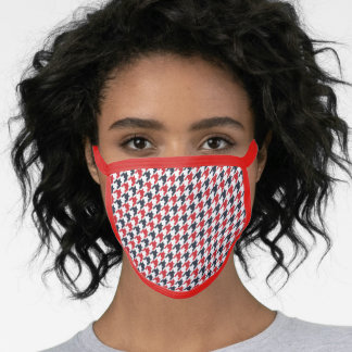 Red, White and Blue Houndstooth Face Mask