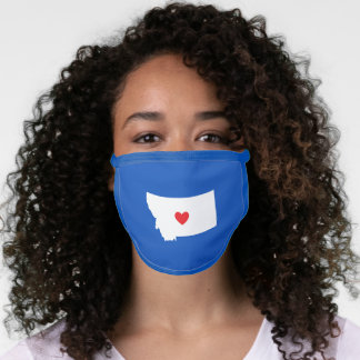 Red White and Blue Montana Heart Face Mask