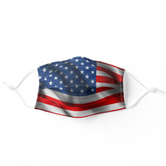 Red, White, and Blue Wavy Patriotic American Flag Adult Cloth Face Mask